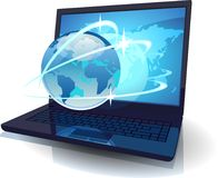 Laptop with Globe and map of the World and orbits. Vector illustration concept for tele-communications Royalty Free Stock Images