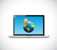 Laptop globe and pointer illustration design stock illustration