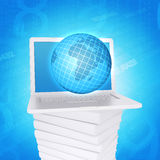 Laptop and globe on white stack of books Stock Images