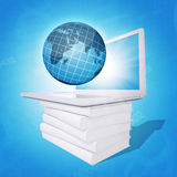 Laptop and globe on white stack of books Stock Image