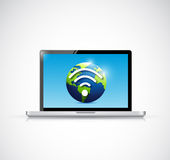 Laptop and globe wifi signal illustration design Stock Photos