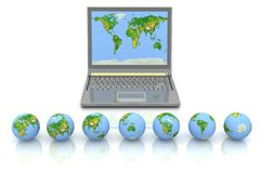 Laptop and globes Stock Photo