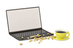 Laptop and gold coffee beans on white background.3D illustration.  Stock Images