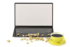 Laptop and gold coffee beans on white background.3D illustration.  Stock Photo