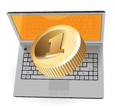 Laptop and golden coin Royalty Free Stock Photos