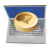 Laptop and golden coin Royalty Free Stock Photography