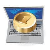 Laptop and golden coin Stock Photos