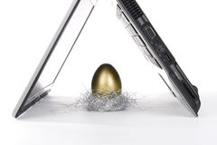 Laptop and golden egg Royalty Free Stock Image