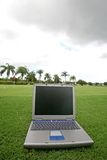 Laptop on a golf course Stock Photos