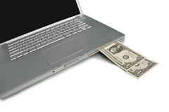 laptop gotówkowa maszyna obrazy royalty free