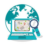 Laptop and gps map design. Laptop and lupe icon. gps map travel and navigation theme. Colorful design. Vector illustration Royalty Free Stock Photos