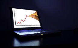 Laptop-graph Royalty Free Stock Images
