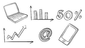 A laptop, graph, phone and other symbols. Illustration of a laptop, graph, phone and other symbols on a white background Stock Photo