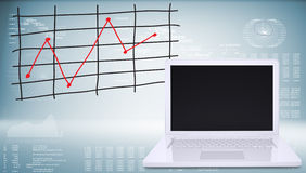 Laptop with graph of price changes Royalty Free Stock Photography