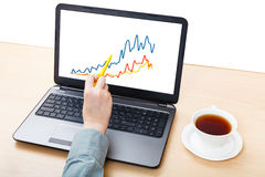Laptop with graph on screen on office table Stock Photography