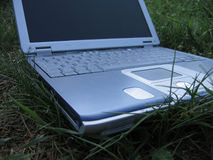 Laptop on the grass. Blue laptop on the grass royalty free stock photos