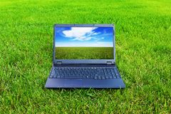 Laptop on grass Stock Images
