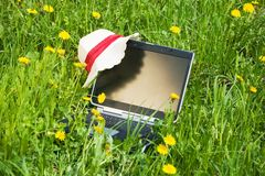 Laptop on the grass Royalty Free Stock Images