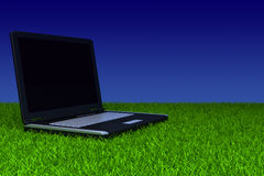 Laptop on grass. Laptop with blank screen on grass stock illustration