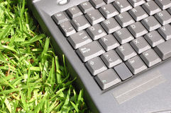 Laptop on Grass Royalty Free Stock Photography