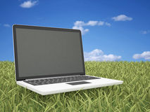 Laptop on Grass Royalty Free Stock Photo