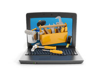 Laptop and a group Royalty Free Stock Image
