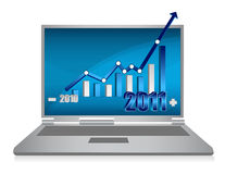 Laptop growth graph. Realistic grey laptop with growth graph isolated on background. vector Royalty Free Stock Photo