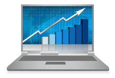 Laptop growth graph / vector. Realistic grey laptop with growth graph isolated on background. Vector illustration Royalty Free Stock Photos
