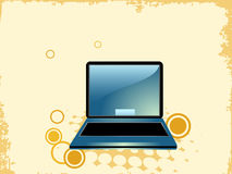 Laptop with grunge. On abstract background stock illustration
