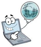 Laptop guy holding a globe Stock Photos