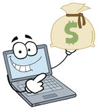 Laptop guy holding a money bag. Laptop cartoon character displays money bag