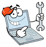Laptop guy holding a wrench Stock Photography
