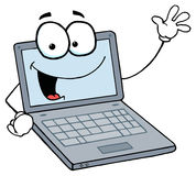 Laptop guy waving and smiling Stock Images