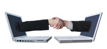 Laptop-Händedruck 2 Lizenzfreies Stockfoto