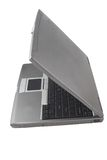 Laptop half closed Royalty Free Stock Photo