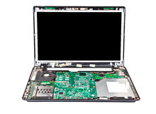 Laptop half disassembled front view royalty free stock photos