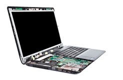 Laptop half disassembled. Laptop repair service Royalty Free Stock Photo
