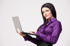 With laptop in hand Stock Images