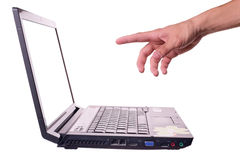 Laptop&hand Royalty Free Stock Photography