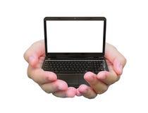 Laptop on hand Stock Image