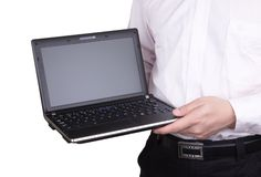 Laptop in hand Royalty Free Stock Photos