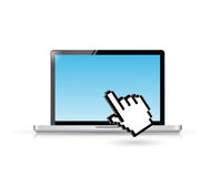Laptop and hand cursor illustration design Stock Photography