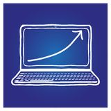 Laptop hand-drawn on a blue background. For design in the advertising industry and other stock illustration
