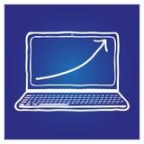 Laptop hand-drawn op een blauwe achtergrond Royalty-vrije Stock Afbeeldingen