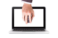 Laptop and Hand holding Mouse Royalty Free Stock Photos
