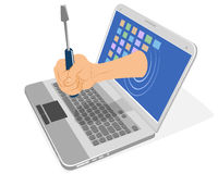 Laptop, hand and screwdriver Royalty Free Stock Photos