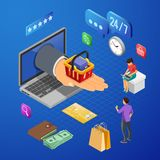 Internet Shopping Online Payments Isometric Concept stock images