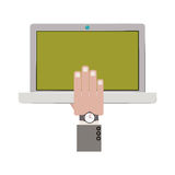 Laptop with hand and watch. Vector illustration Stock Image