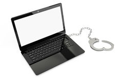 Laptop with handcuff Stock Image