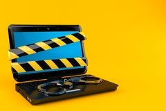 Laptop with handcuffs Royalty Free Stock Images